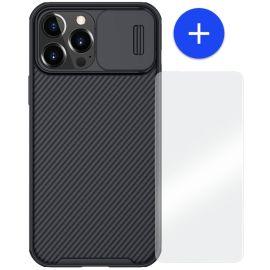 iPhone 13 Pro Hoesje Zwart met Camera bescherming - Nillkin (CamShield Serie)
